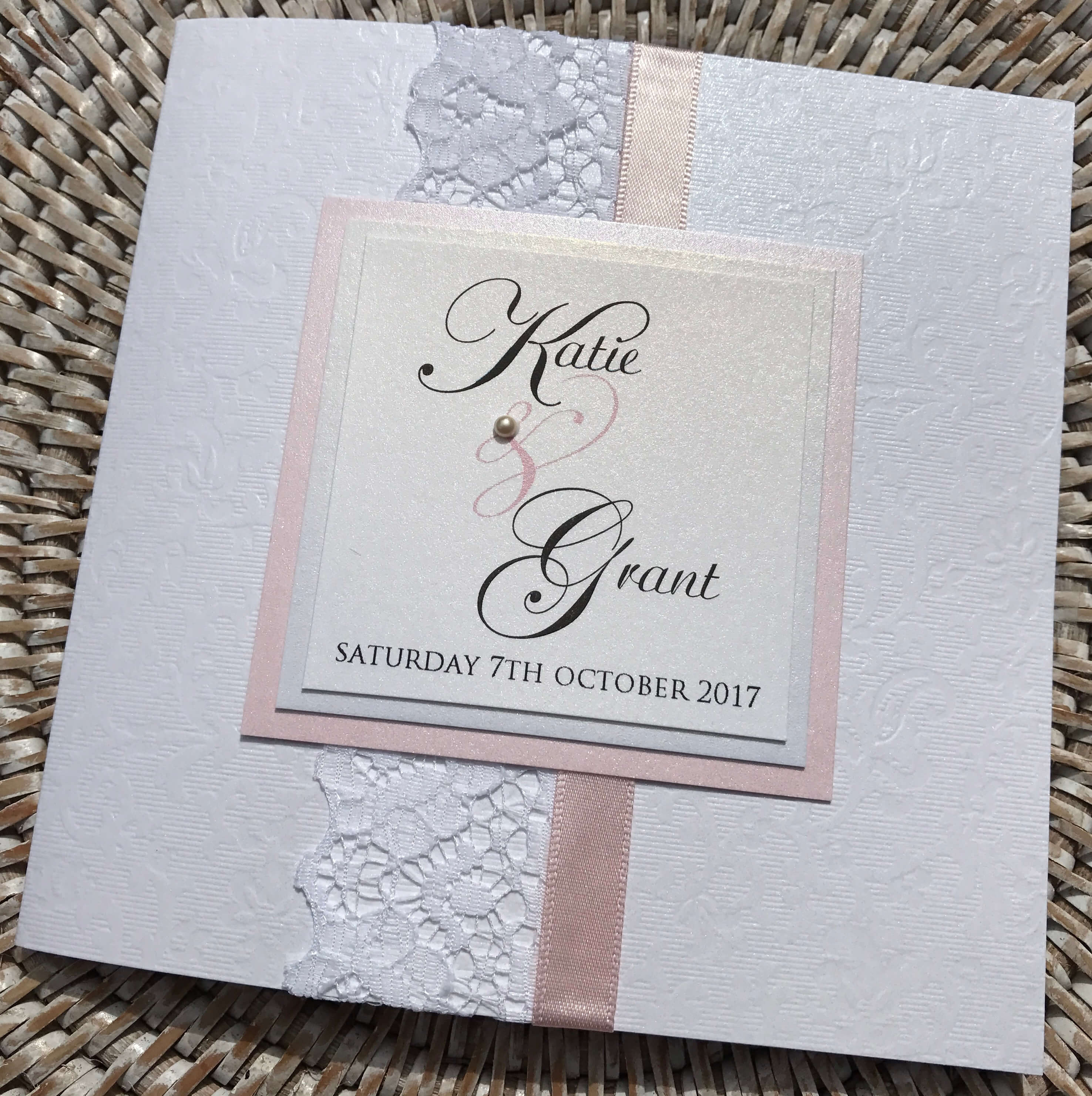 Vintage Style Pocket Fold Wedding Invitation Pale Pink