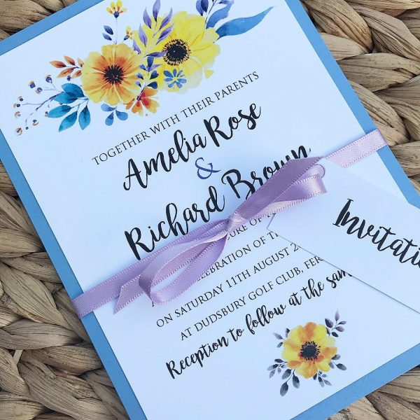 Daisy Water Colour Wedding Invitation
