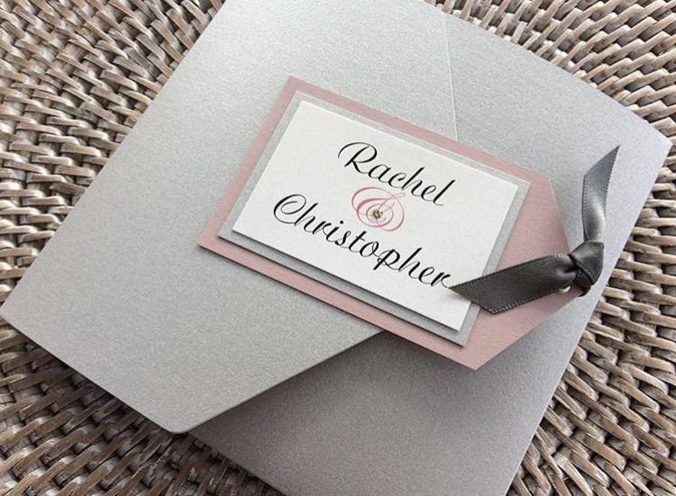 Silver, Dusky Pink, Pocket Fold, Invitation