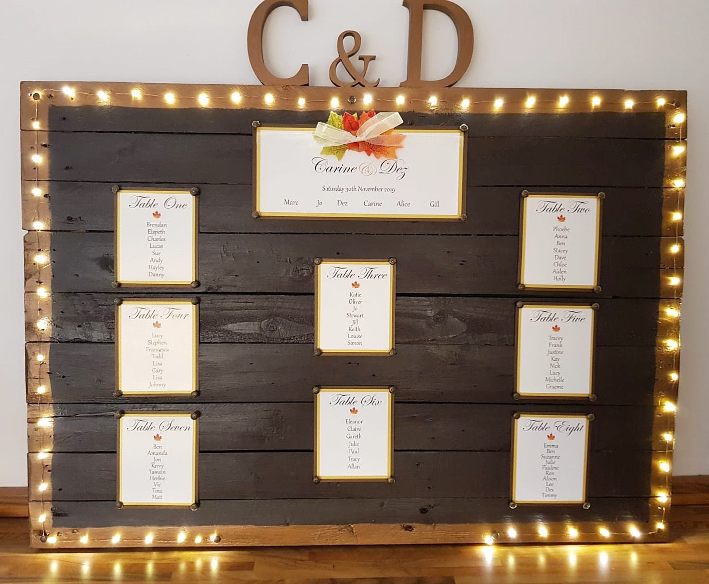 Autumn Wedding Table Plan